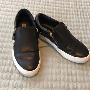 Black leather Steve Madden vans